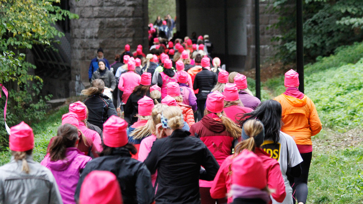 Rosa sløyfe-løpet Oslo 2016 Langs akerselva
